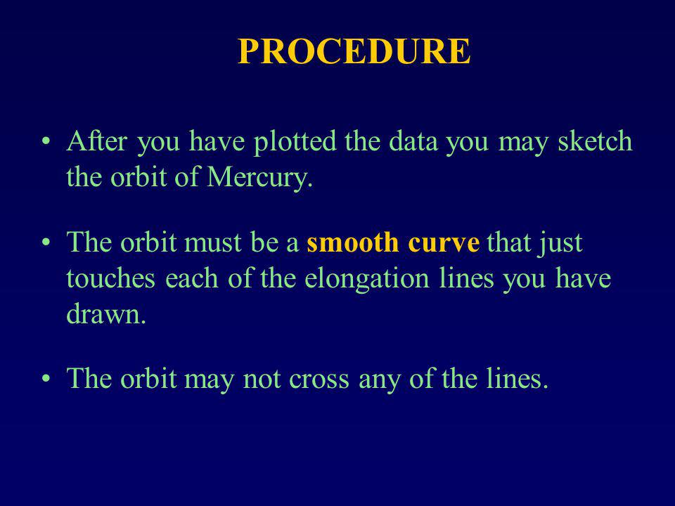 After you have plotted the data you may sketch the orbit of Mercury. The orbit must be a smooth curve that just touches each of the elongation lines y