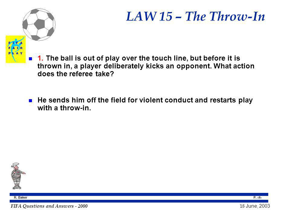 FIFA Questions and Answers - 2000 18 June, 2003 P. 137 R. Baker LAW 15 – The Throw-In n 1. The ball is out of play over the touch line, but before it
