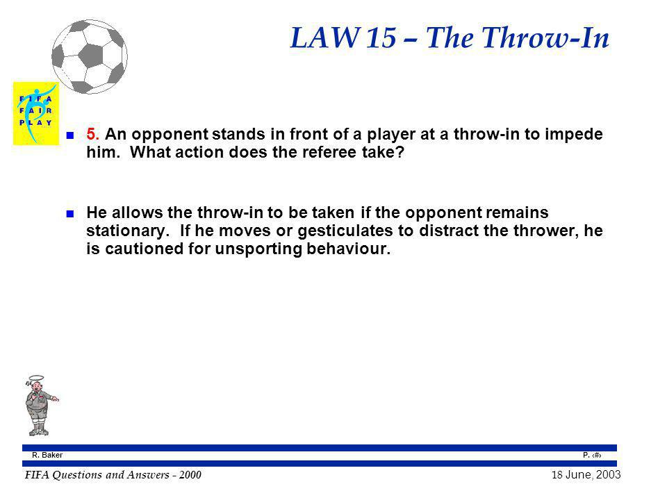 FIFA Questions and Answers - 2000 18 June, 2003 P. 141 R. Baker LAW 15 – The Throw-In n 5. An opponent stands in front of a player at a throw-in to im