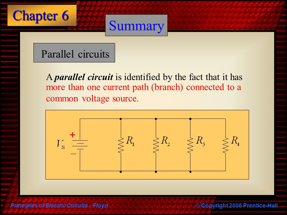 Principles of Electric Circuits - Floyd© Copyright 2006 Prentice-Hall Chapter 6 Summary Parallel circuits A parallel circuit is identified by the fact that it has more than one current path (branch) connected to a common voltage source.