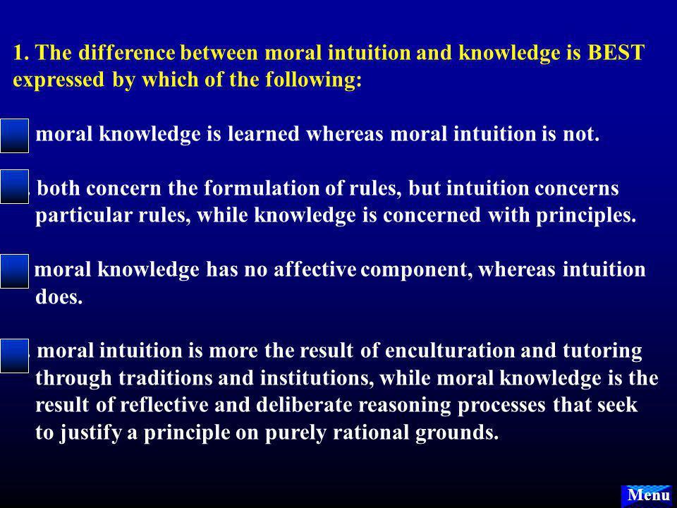 Menu Question 1 Question 2 Question 3 Matching MAIN MENU To Exit: Press Escape Practice Quiz Chapter 5 Moral Knowledge