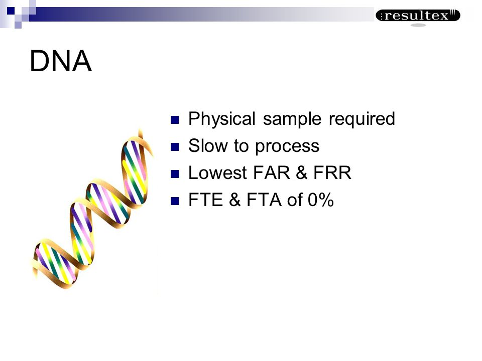 DNA Physical sample required Slow to process Lowest FAR & FRR FTE & FTA of 0%