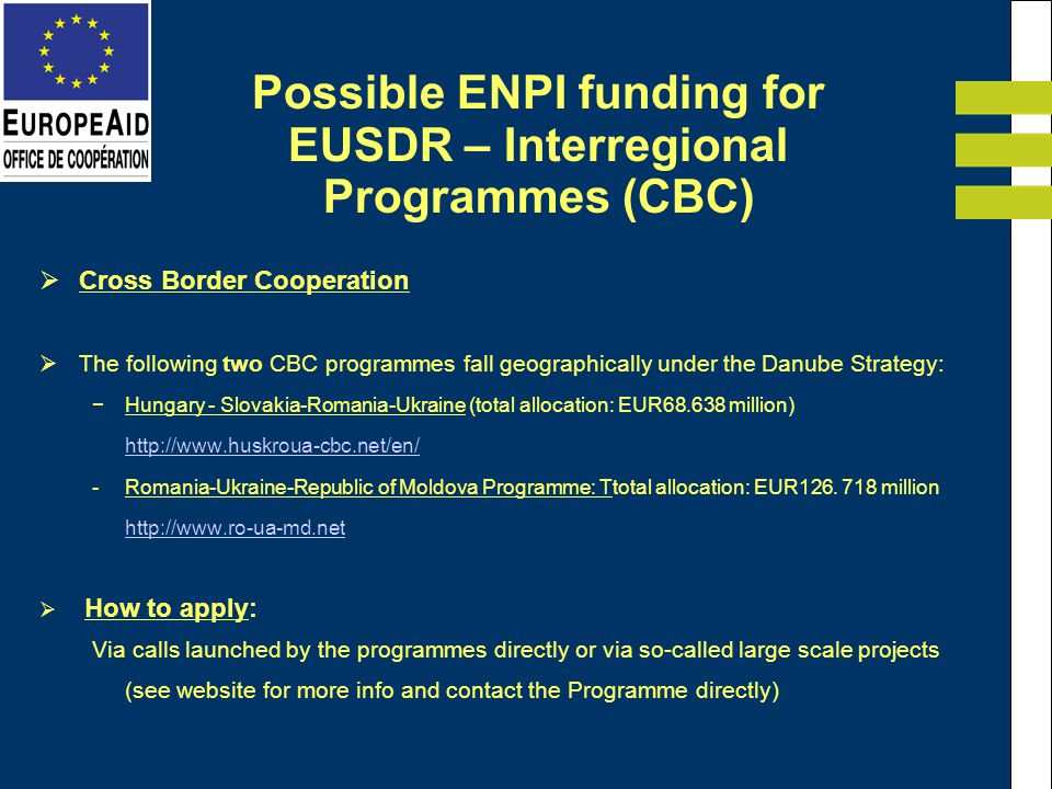Cross Border Cooperation The following two CBC programmes fall geographically under the Danube Strategy: Hungary - Slovakia-Romania-Ukraine (total all