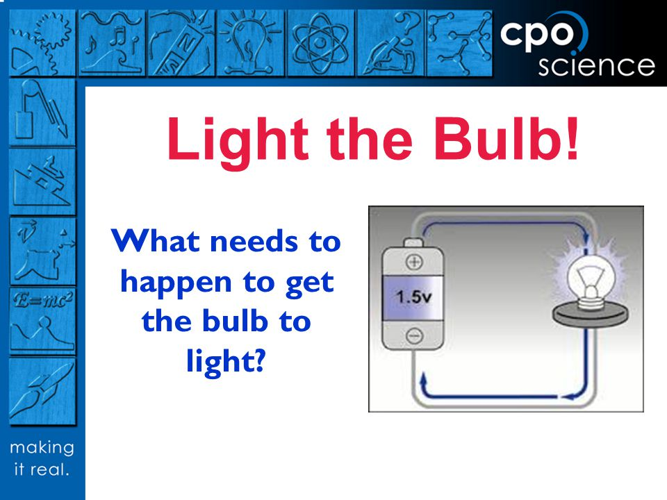Light the Bulb! What needs to happen to get the bulb to light?