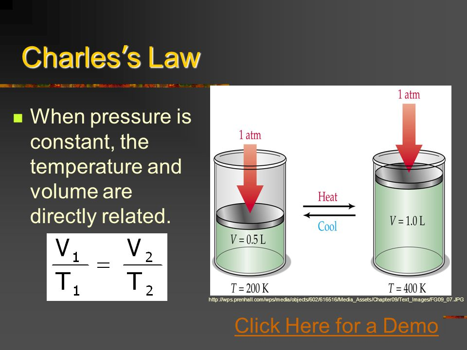 Charles s Law When pressure is constant, the temperature and volume are directly related.