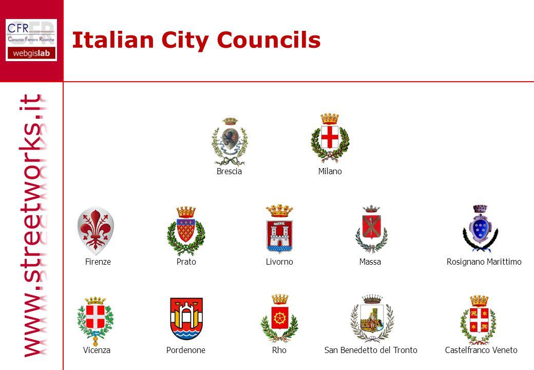 Italian City Councils BresciaMilano FirenzePratoLivornoMassaRosignano Marittimo VicenzaPordenoneCastelfranco VenetoRhoSan Benedetto del Tronto