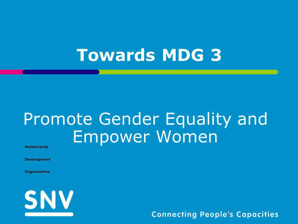 Towards MDG 3 Promote Gender Equality and Empower Women
