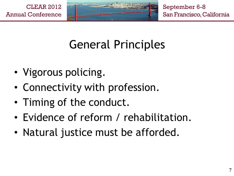7 General Principles Vigorous policing. Connectivity with profession.