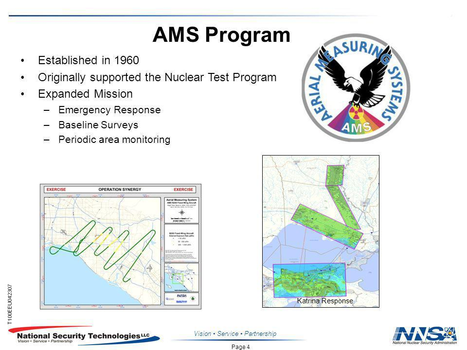Page 4 T100EEU Vision Service Partnership AMS Program Established in 1960 Originally supported the Nuclear Test Program Expanded Mission –Emergency Response –Baseline Surveys –Periodic area monitoring Katrina Response