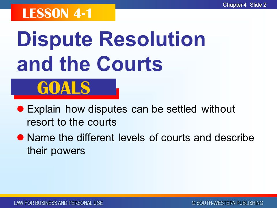 LAW FOR BUSINESS AND PERSONAL USE © SOUTH-WESTERN PUBLISHING Chapter 4Slide 33 SMALL CLAIMS COURTS Handle cases involving small amounts ($2,500 or less) Attorneys are not required Judge hears case without a jury or formal evidence Decisions can be appealed to circuit courts