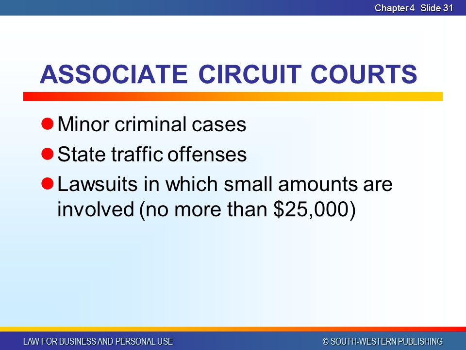 LAW FOR BUSINESS AND PERSONAL USE © SOUTH-WESTERN PUBLISHING Chapter 4Slide 31 ASSOCIATE CIRCUIT COURTS Minor criminal cases State traffic offenses La