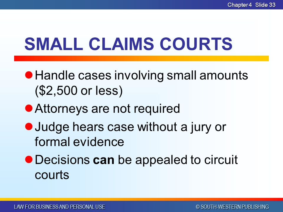 LAW FOR BUSINESS AND PERSONAL USE © SOUTH-WESTERN PUBLISHING Chapter 4Slide 33 SMALL CLAIMS COURTS Handle cases involving small amounts ($2,500 or les