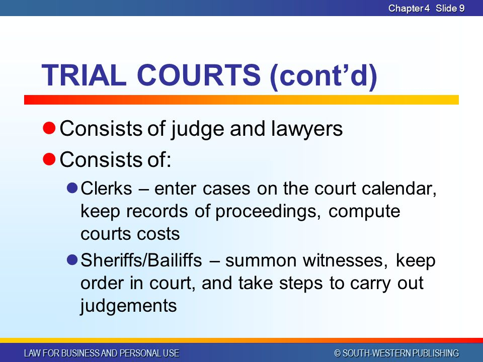 LAW FOR BUSINESS AND PERSONAL USE © SOUTH-WESTERN PUBLISHING Chapter 4Slide 30 STATE COURTS WITH SPECIALIZED JURISDICTION Associate circuit courts City or municipal courts Small claims courts Juvenile courts Probate courts