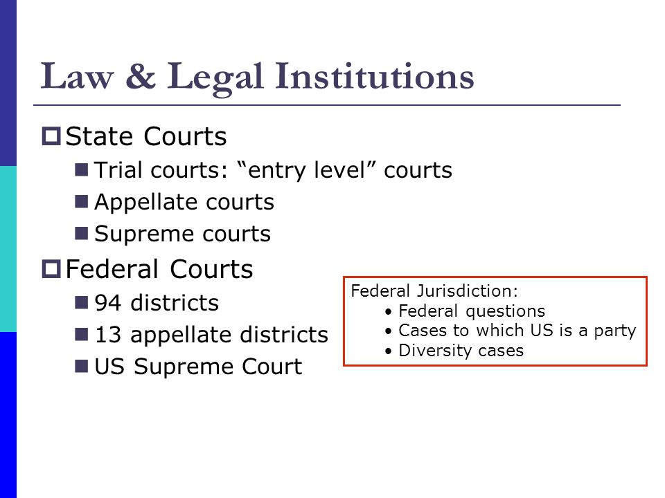 State Courts Trial courts: entry level courts Appellate courts Supreme courts Federal Courts 94 districts 13 appellate districts US Supreme Court Law