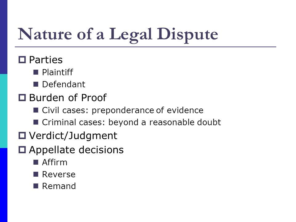Parties Plaintiff Defendant Burden of Proof Civil cases: preponderance of evidence Criminal cases: beyond a reasonable doubt Verdict/Judgment Appellat
