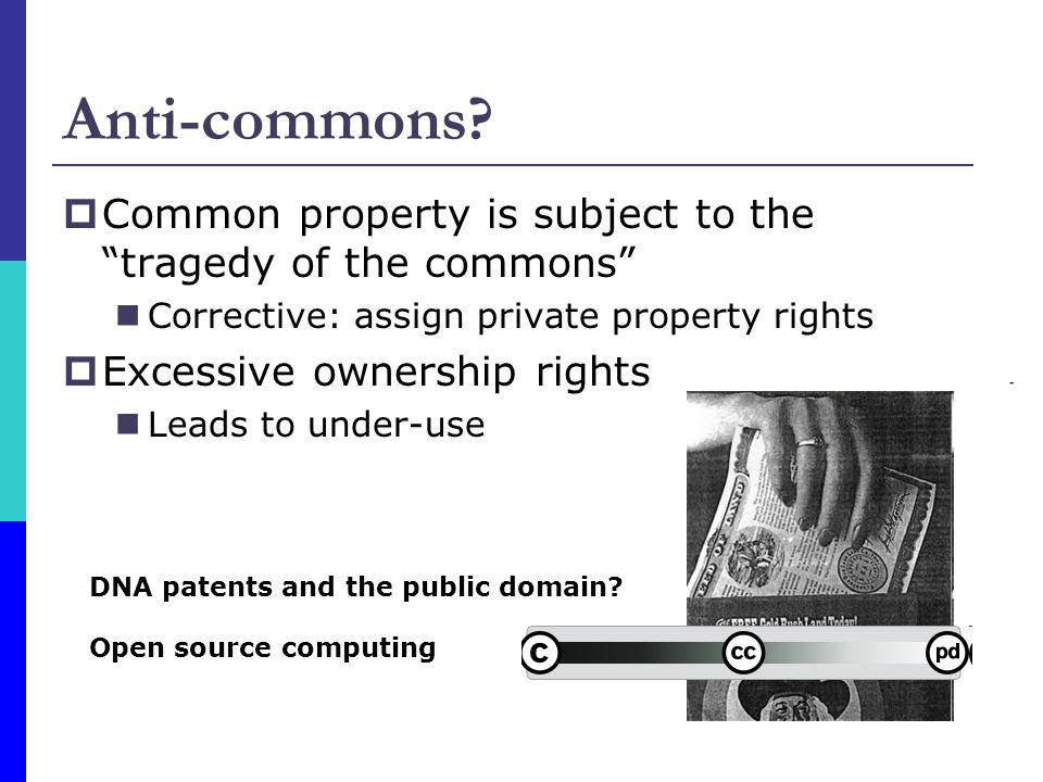 Anti-commons? Common property is subject to the tragedy of the commons Corrective: assign private property rights Excessive ownership rights Leads to