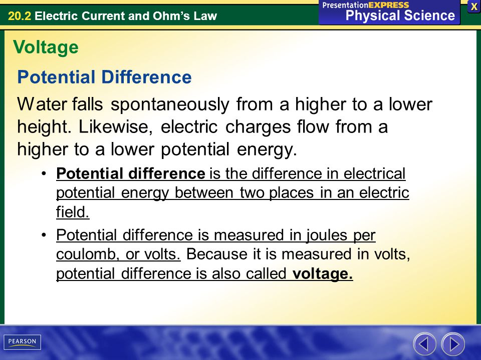 20.2 Electric Current and Ohms Law Potential Difference Water falls spontaneously from a higher to a lower height. Likewise, electric charges flow fro