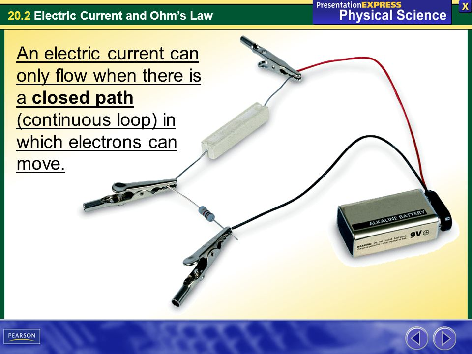 20.2 Electric Current and Ohms Law An electric current can only flow when there is a closed path (continuous loop) in which electrons can move.