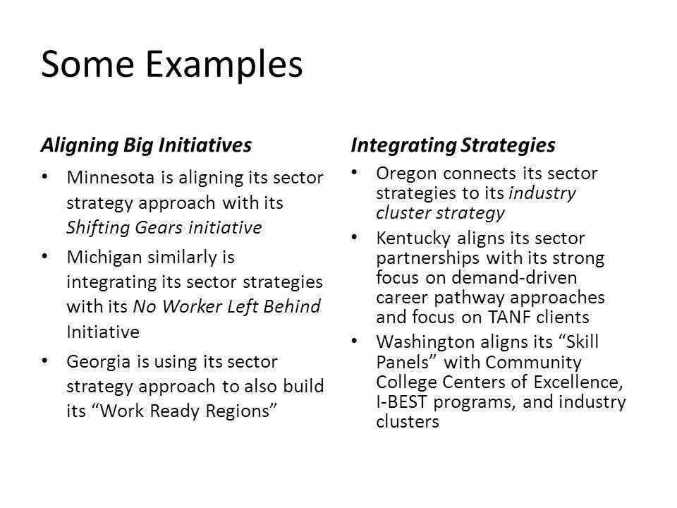 Some Examples Aligning Big Initiatives Minnesota is aligning its sector strategy approach with its Shifting Gears initiative Michigan similarly is integrating its sector strategies with its No Worker Left Behind Initiative Georgia is using its sector strategy approach to also build its Work Ready Regions Integrating Strategies Oregon connects its sector strategies to its industry cluster strategy Kentucky aligns its sector partnerships with its strong focus on demand-driven career pathway approaches and focus on TANF clients Washington aligns its Skill Panels with Community College Centers of Excellence, I-BEST programs, and industry clusters