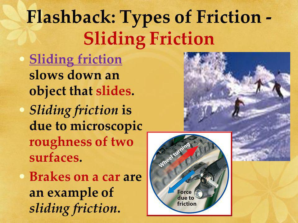 Flashback: Types of Friction – Static Friction Generally, the rougher the surface or the heavier the object, the more static friction.
