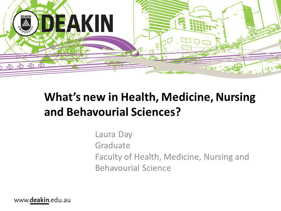Whats new in Health, Medicine, Nursing and Behavourial Sciences.