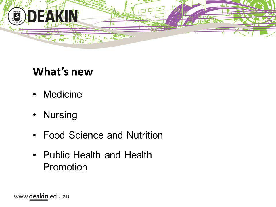Whats new Medicine Nursing Food Science and Nutrition Public Health and Health Promotion