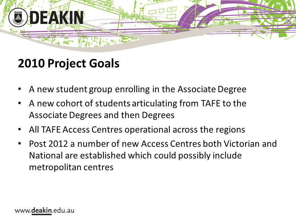 2010 Project Goals A new student group enrolling in the Associate Degree A new cohort of students articulating from TAFE to the Associate Degrees and then Degrees All TAFE Access Centres operational across the regions Post 2012 a number of new Access Centres both Victorian and National are established which could possibly include metropolitan centres