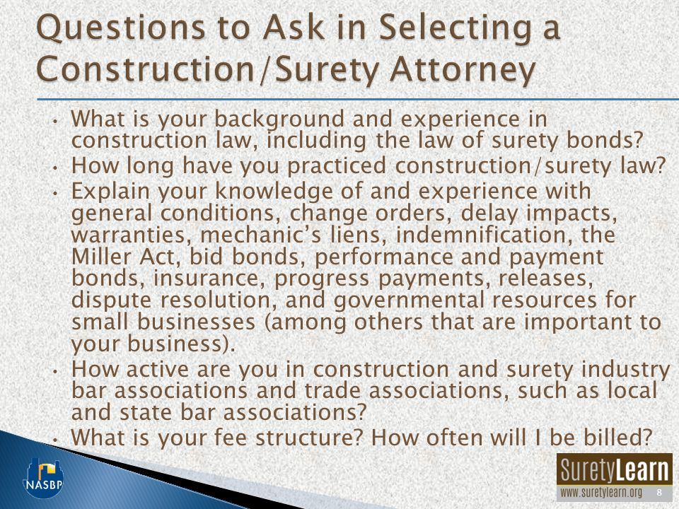 What is your background and experience in construction law, including the law of surety bonds.