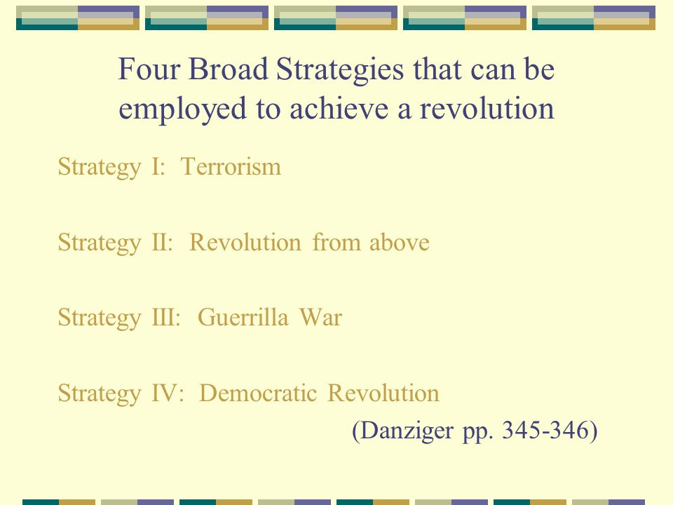 Four Broad Strategies that can be employed to achieve a revolution Strategy I: Terrorism Strategy II: Revolution from above Strategy III: Guerrilla Wa