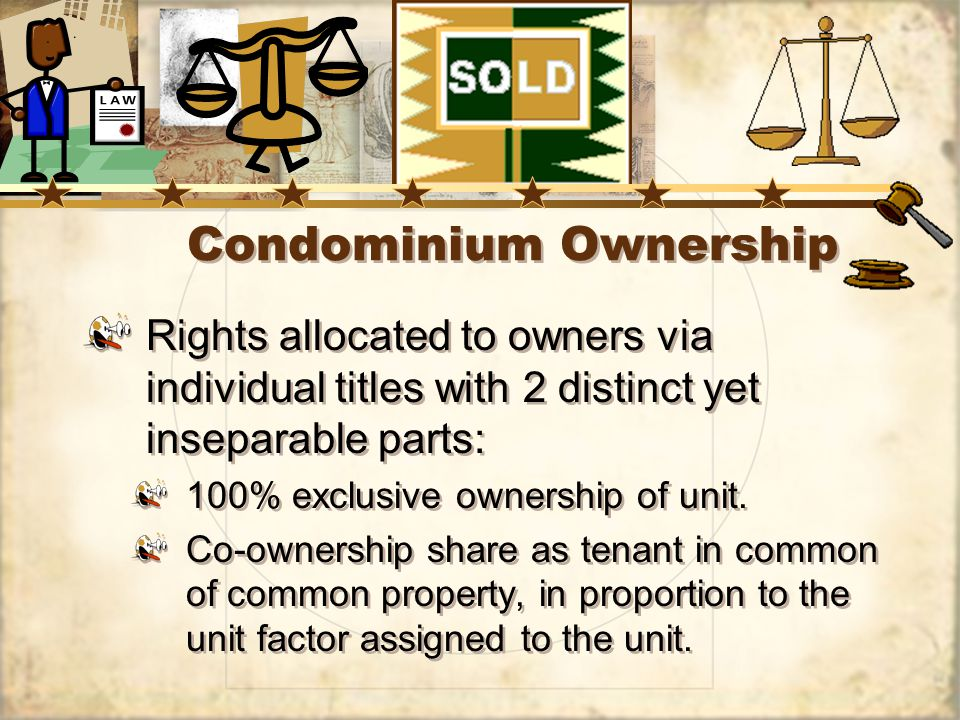 Condominium Ownership Rights allocated to owners via individual titles with 2 distinct yet inseparable parts: 100% exclusive ownership of unit.