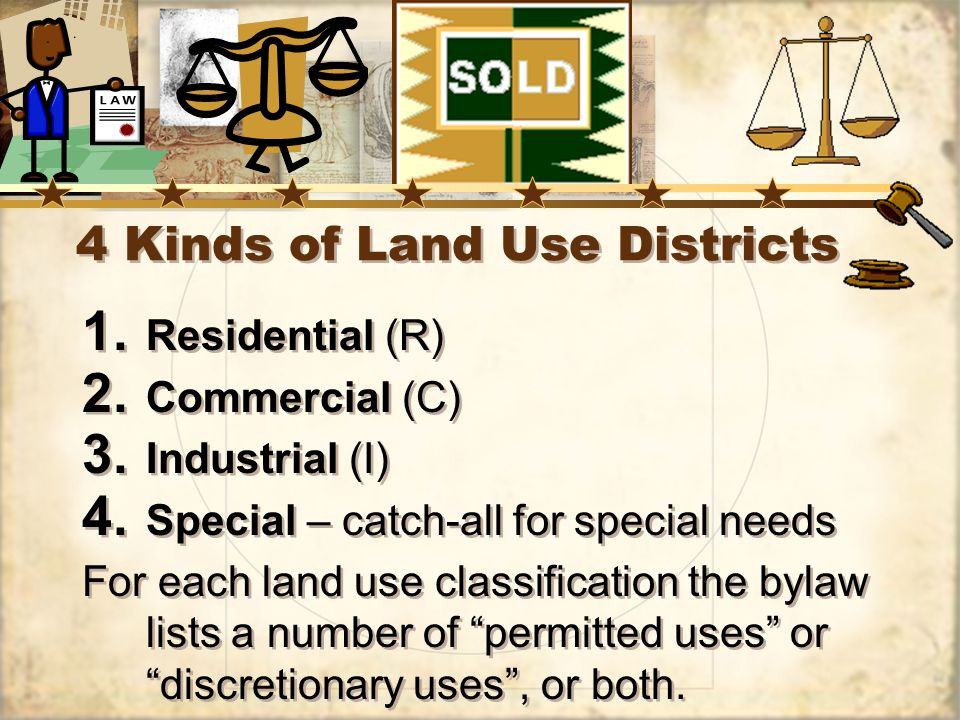 4 Kinds of Land Use Districts 1. Residential (R) 2.