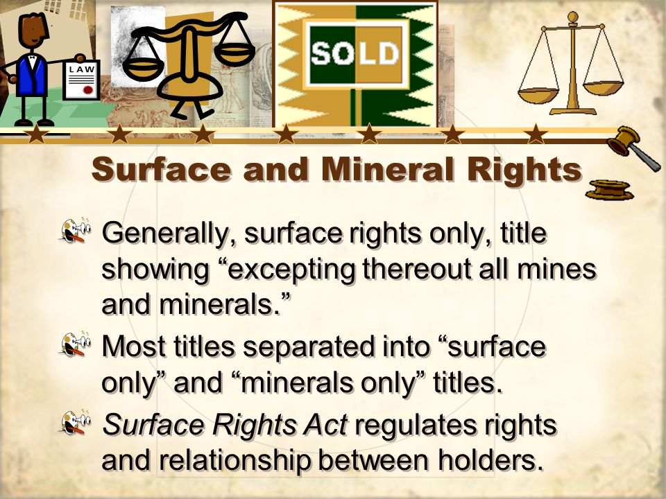 Surface and Mineral Rights Generally, surface rights only, title showing excepting thereout all mines and minerals.