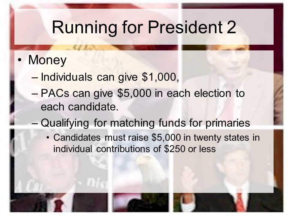 Running for President 3 Organization –large paid stafflarge paid staff e.g., Kerry Campaign StaffKerry Campaign Staff –volunteers –advisers on issues