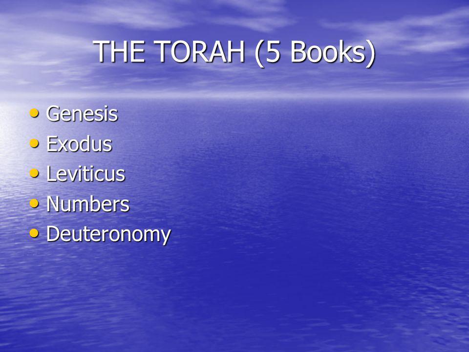 THE TORAH (5 Books) Genesis Genesis Exodus Exodus Leviticus Leviticus Numbers Numbers Deuteronomy Deuteronomy
