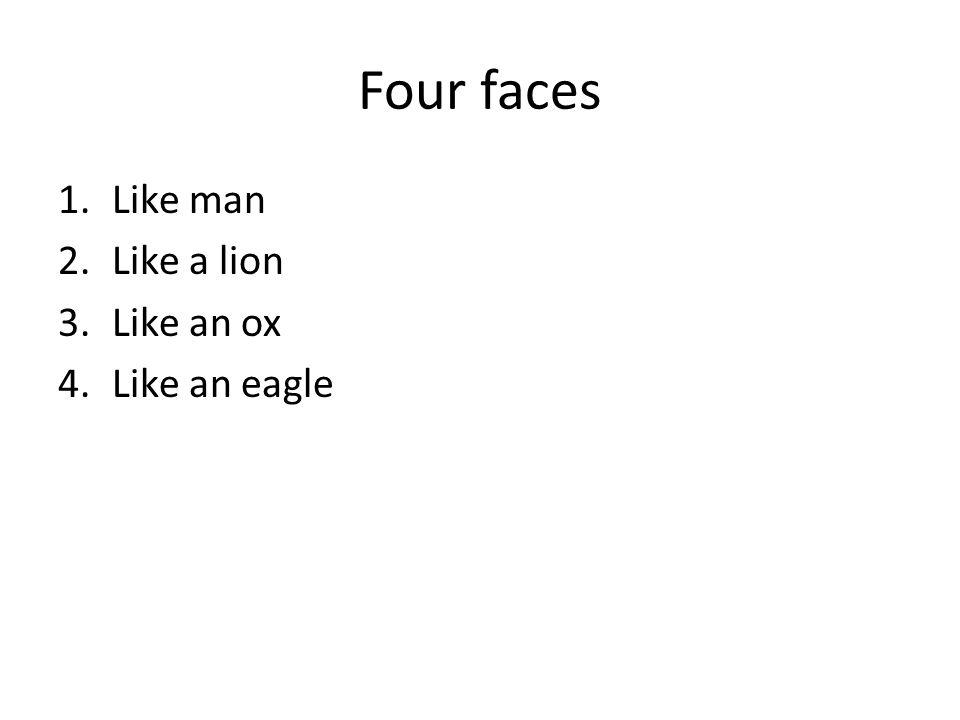 Four faces 1.Like man 2.Like a lion 3.Like an ox 4.Like an eagle