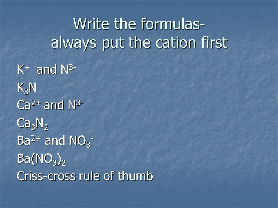 Write the formulas- always put the cation first K + and N 3- K3NK3NK3NK3N Ca 2+ and N 3- Ca 3 N 2 Ba 2+ and NO 3 - Ba(NO 3 ) 2 Criss-cross rule of thumb
