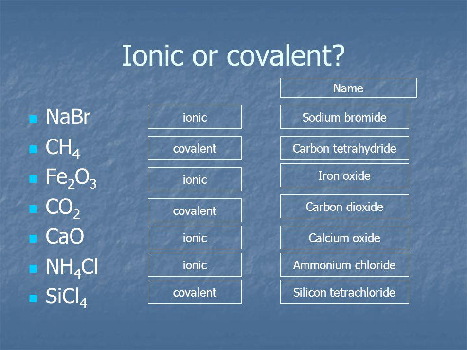 Ionic or covalent.