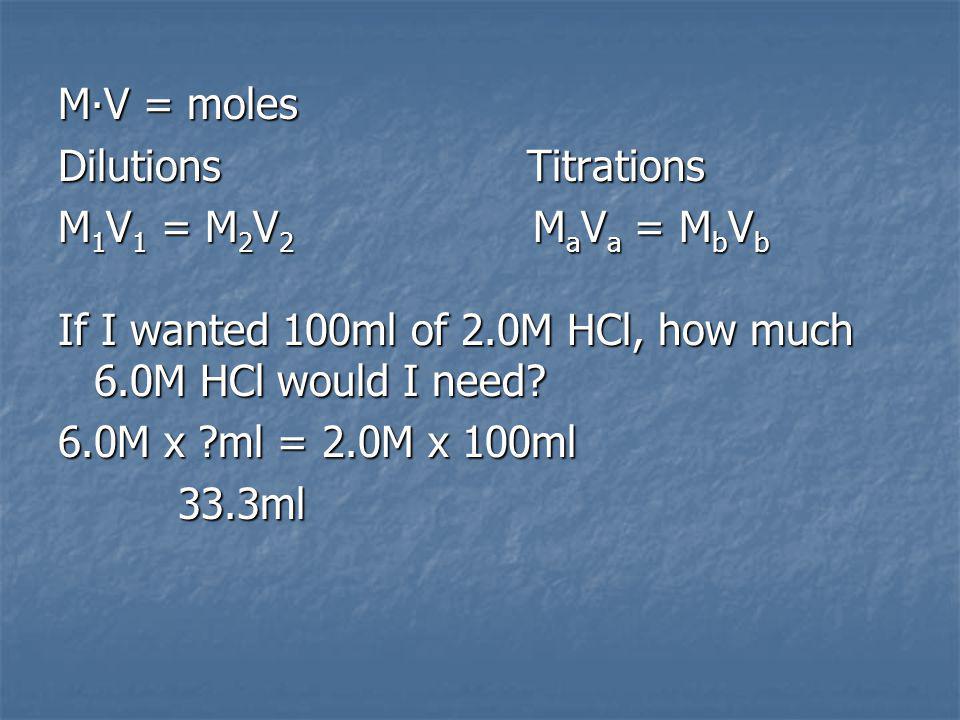 MV = moles Dilutions Titrations M 1 V 1 = M 2 V 2 M a V a = M b V b If I wanted 100ml of 2.0M HCl, how much 6.0M HCl would I need.