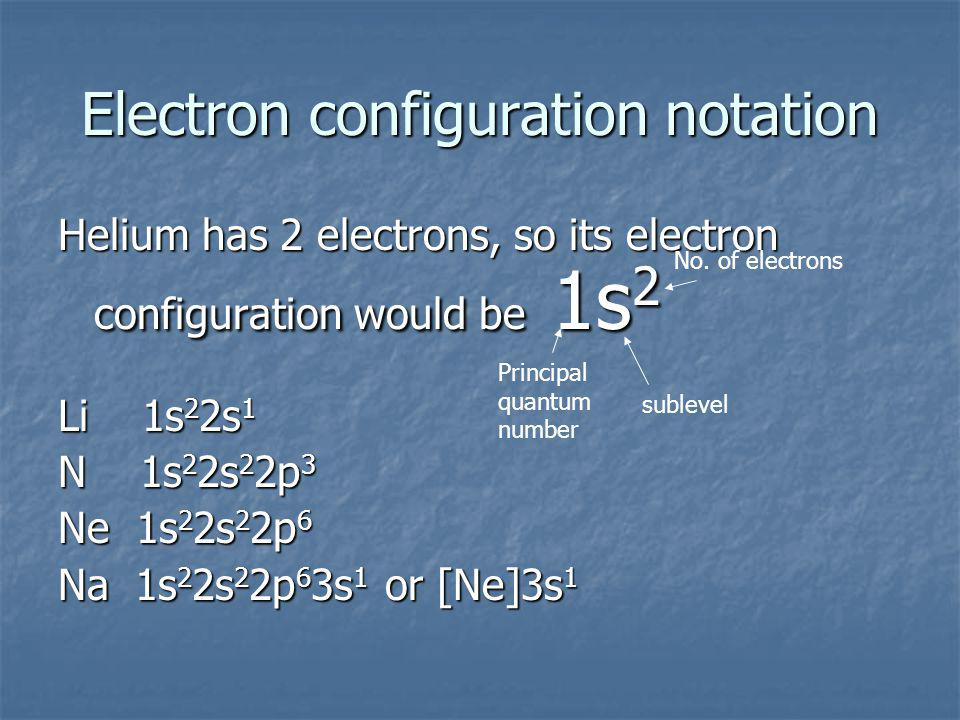 Electron configuration notation Helium has 2 electrons, so its electron configuration would be 1s 2 Li 1s 2 2s 1 N 1s 2 2s 2 2p 3 Ne 1s 2 2s 2 2p 6 Na 1s 2 2s 2 2p 6 3s 1 or [Ne]3s 1 Principal quantum number sublevel No.