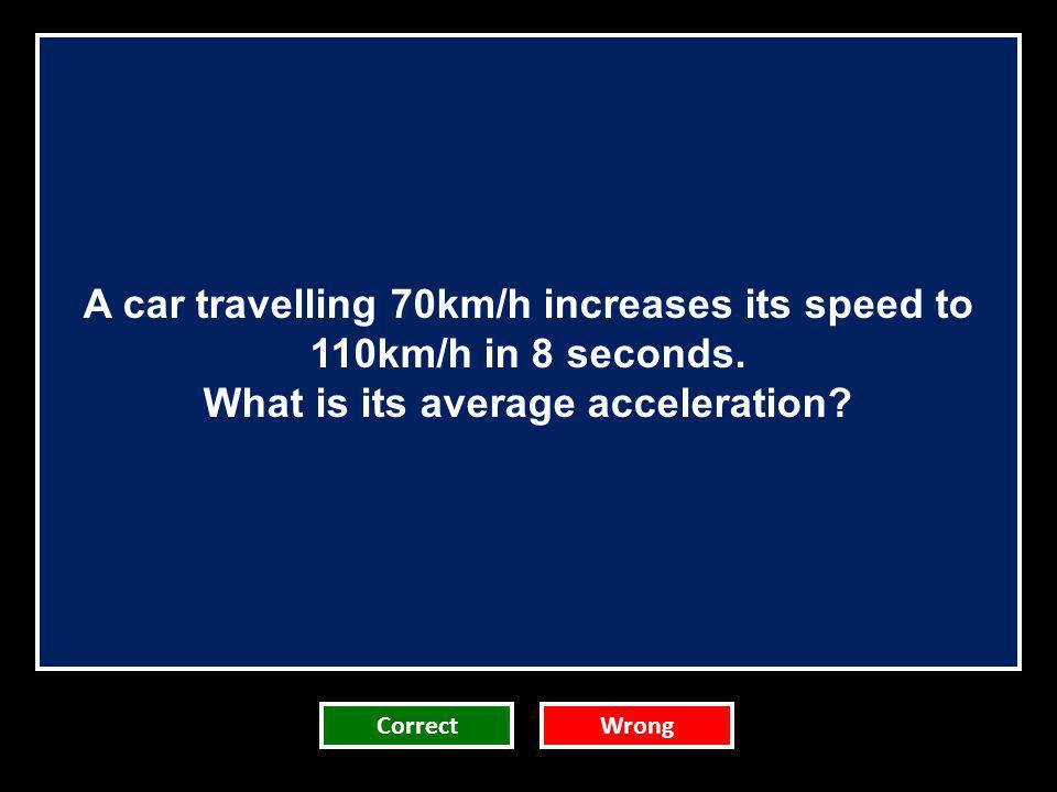 A car travelling 70km/h increases its speed to 110km/h in 8 seconds. What is its average acceleration? CorrectWrong