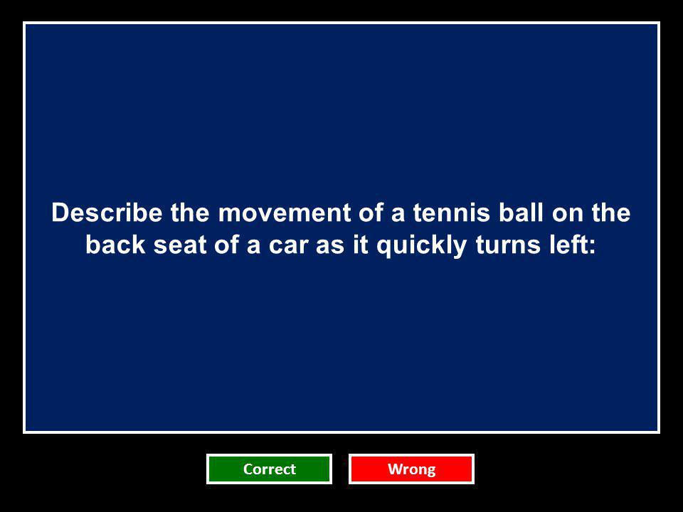 Describe the movement of a tennis ball on the back seat of a car as it quickly turns left: CorrectWrong