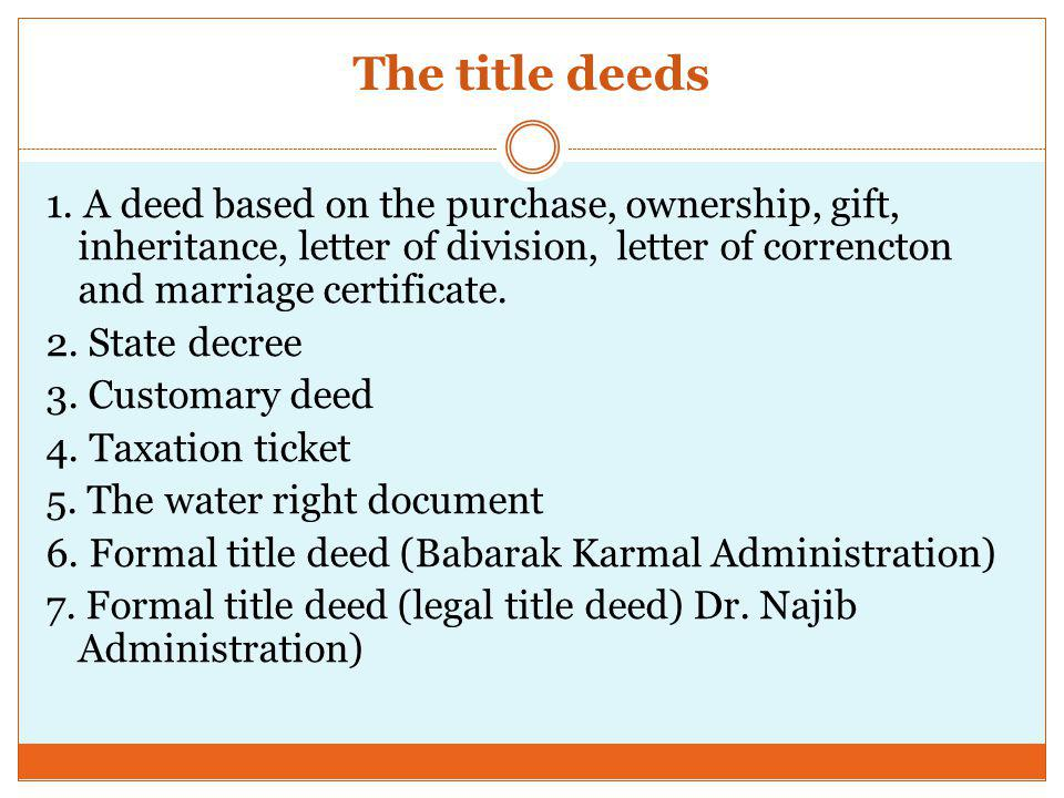 The title deeds 1.