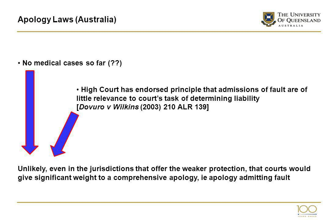 Apology Laws (Australia) No medical cases so far ( ) High Court has endorsed principle that admissions of fault are of little relevance to courts task of determining liability [Dovuro v Wilkins (2003) 210 ALR 139] Unlikely, even in the jurisdictions that offer the weaker protection, that courts would give significant weight to a comprehensive apology, ie apology admitting fault