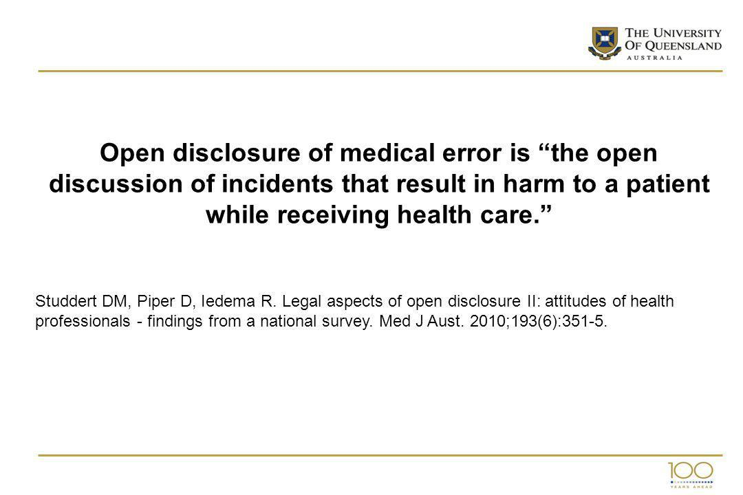 Open disclosure of medical error is the open discussion of incidents that result in harm to a patient while receiving health care.