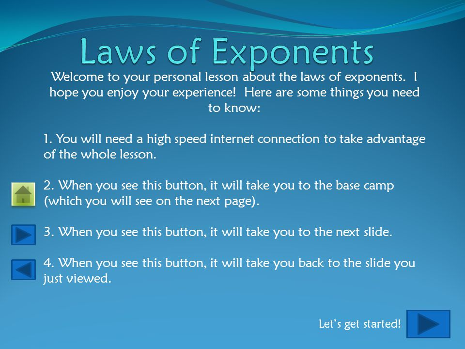 Welcome to your personal lesson about the laws of exponents.