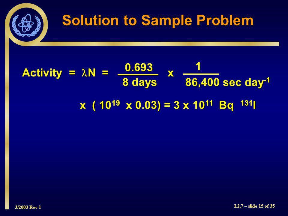 3/2003 Rev 1 I.2.7 – slide 15 of 35 Solution to Sample Problem Activity = N = x x ( 10 19 x 0.03) = 3 x 10 11 Bq 131 I 0.693 8 days 1 86,400 sec day -1
