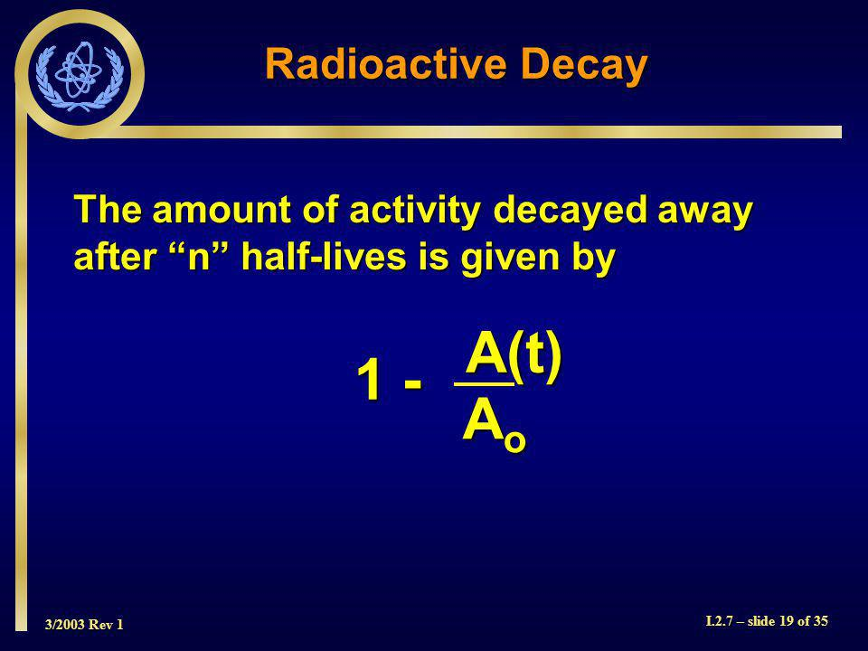 3/2003 Rev 1 I.2.7 – slide 19 of 35 Radioactive Decay The amount of activity decayed away after n half-lives is given by A(t) AoAoAoAo 1 -