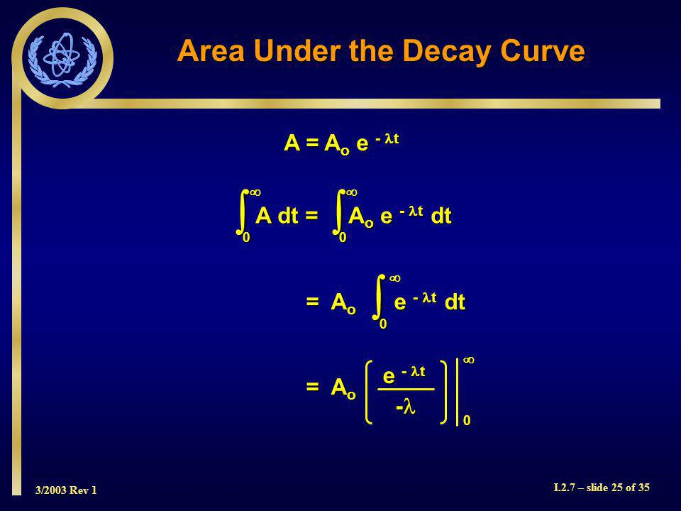 3/2003 Rev 1 I.2.7 – slide 25 of 35 Area Under the Decay Curve A = A o e - t 0 A dt = A o e - t dt 0 = A o e - t dt = A o e - t dt 0 = A o = A o 0 e - t -