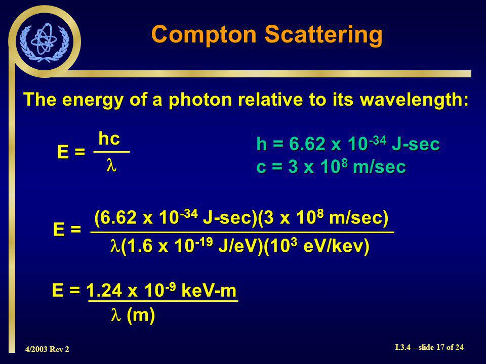 4/2003 Rev 2 I.3.4 – slide 17 of 24 Compton Scattering E = hc h = 6.62 x 10 -34 J-sec c = 3 x 10 8 m/sec E = (6.62 x 10 -34 J-sec)(3 x 10 8 m/sec) (1.6 x 10 -19 J/eV)(10 3 eV/kev) (1.6 x 10 -19 J/eV)(10 3 eV/kev) E = 1.24 x 10 -9 keV-m (m) (m) The energy of a photon relative to its wavelength: