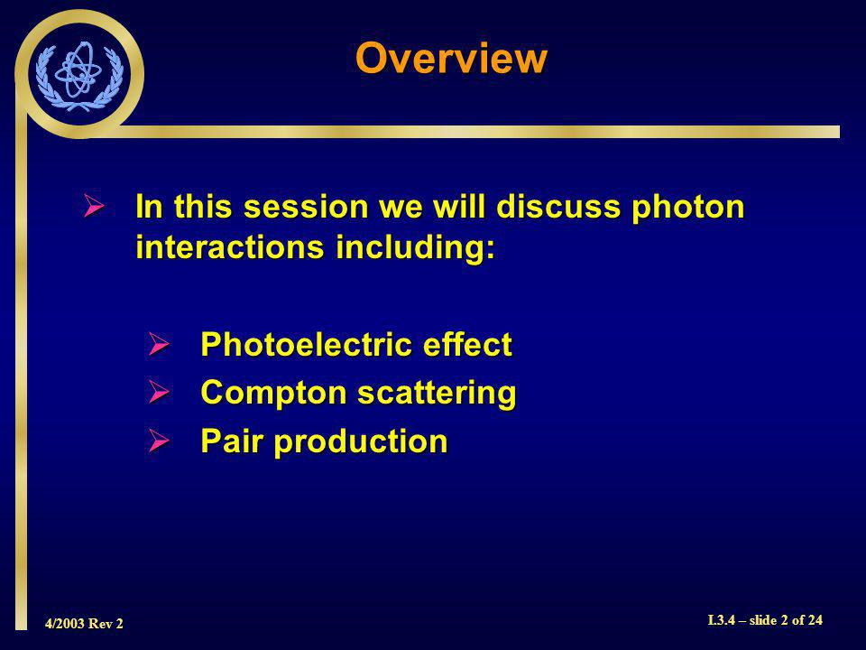 4/2003 Rev 2 I.3.4 – slide 2 of 24 In this session we will discuss photon interactions including: In this session we will discuss photon interactions including: Photoelectric effect Photoelectric effect Compton scattering Compton scattering Pair production Pair production Overview